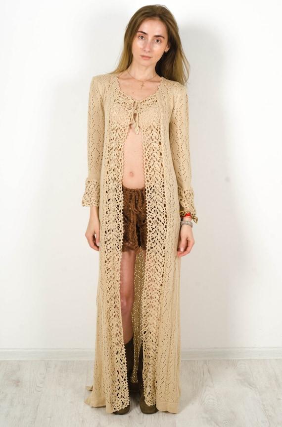 Crochet Beige Cardigan Crochet Dress Lace Nude Cardigan Maxi Summer Dress Handmade Cardigan Crochet Wraparound Cardigan Cross Over Dress