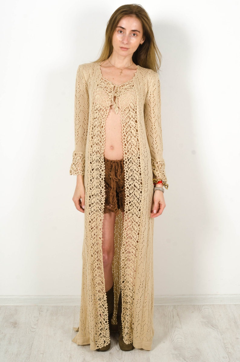 Crochet Beige Cardigan Crochet Dress Lace Nude Cardigan Maxi Etsy