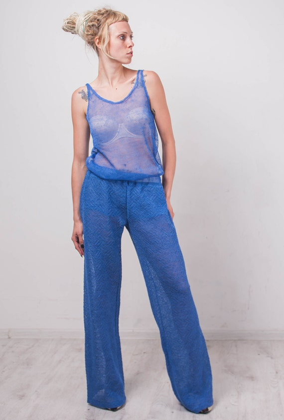 linen Costume Crochet tank pants ensemble beachwear blue linen top Crochet summer linen blue Crochet Linen Knit costume Costume lacy crochet qZxqPzr1aw