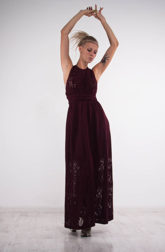 Crochet marsala dress KNIT maxi Dress openback viscose Dress Crochet bordeaux Dress evening dress Beach viscose SunDress floor maxi Dress