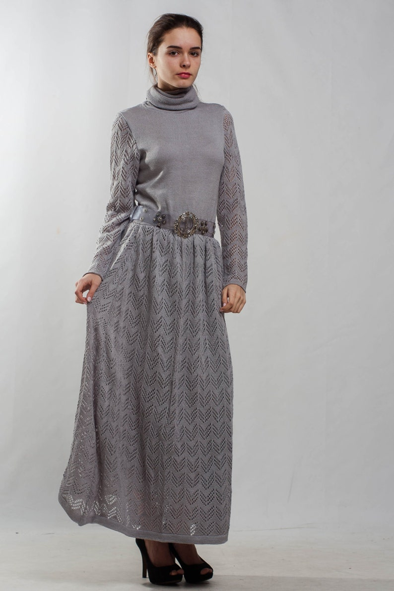 6ad0ae916b8 Grey knit dress turtleneck office dress Long sleeve crochet