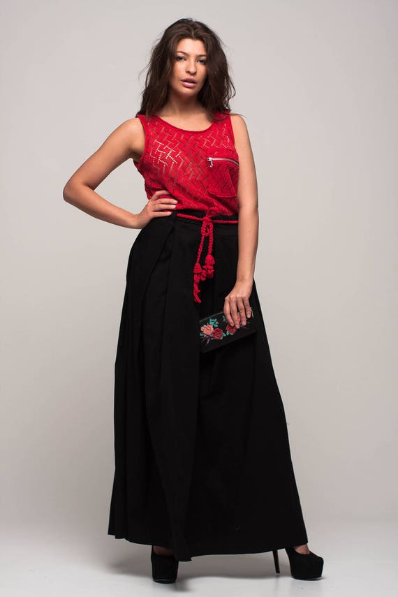 Red And Black Maxi Dress Evening Knit Sundress Red Cocktail Etsy