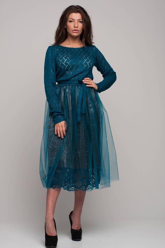 Aquamarine Tulle Tutu Dress Midi Prom Dress Bridal Dress Knit Etsy