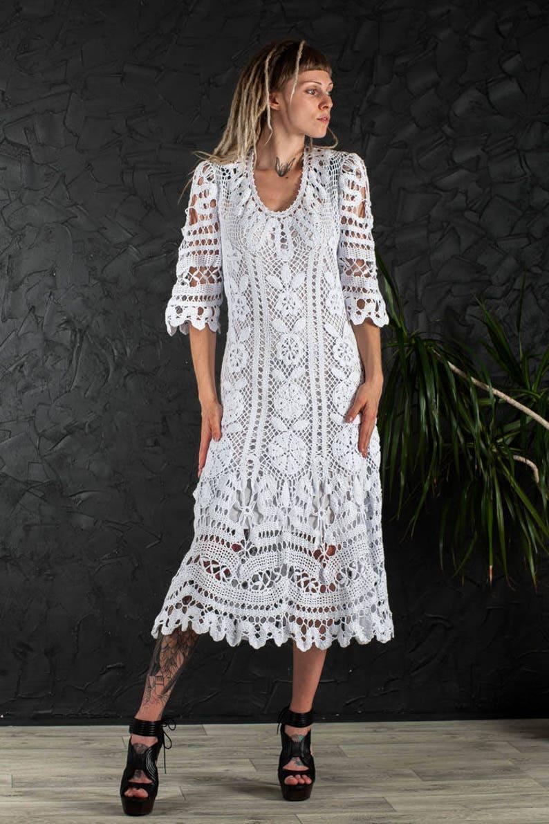 f7e9c05dc2c Crochet wedding dress Handmade White Dress wedding dress