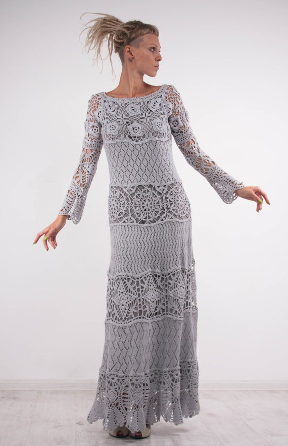 Crochet Lace Off Shoulder Dress Grey Maxi Dress Long Sleeves Etsy