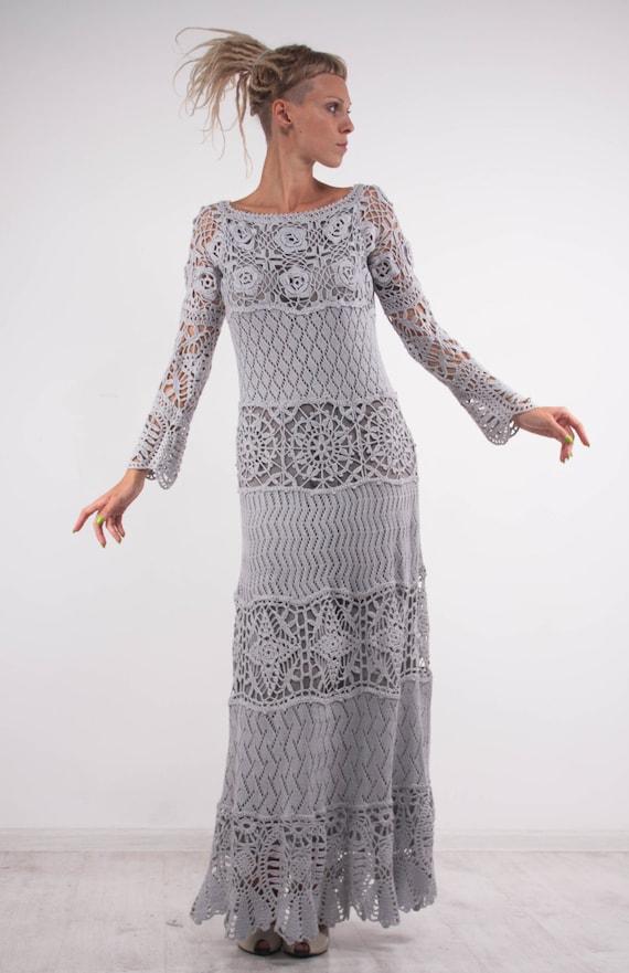Crochet Lace Off Shoulder Dress Grey Maxi Dress Long Sleeves Dress Grey Lacy Dress Gray On Lining Dress Crochet Dress Evening Floor Gown