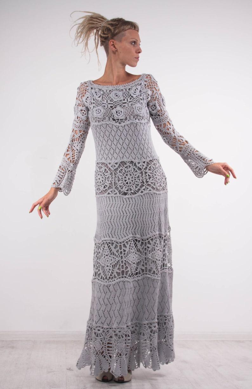 Crochet Lace Off Shoulder Dress Grey Maxi Dress Long Sleeves Etsy