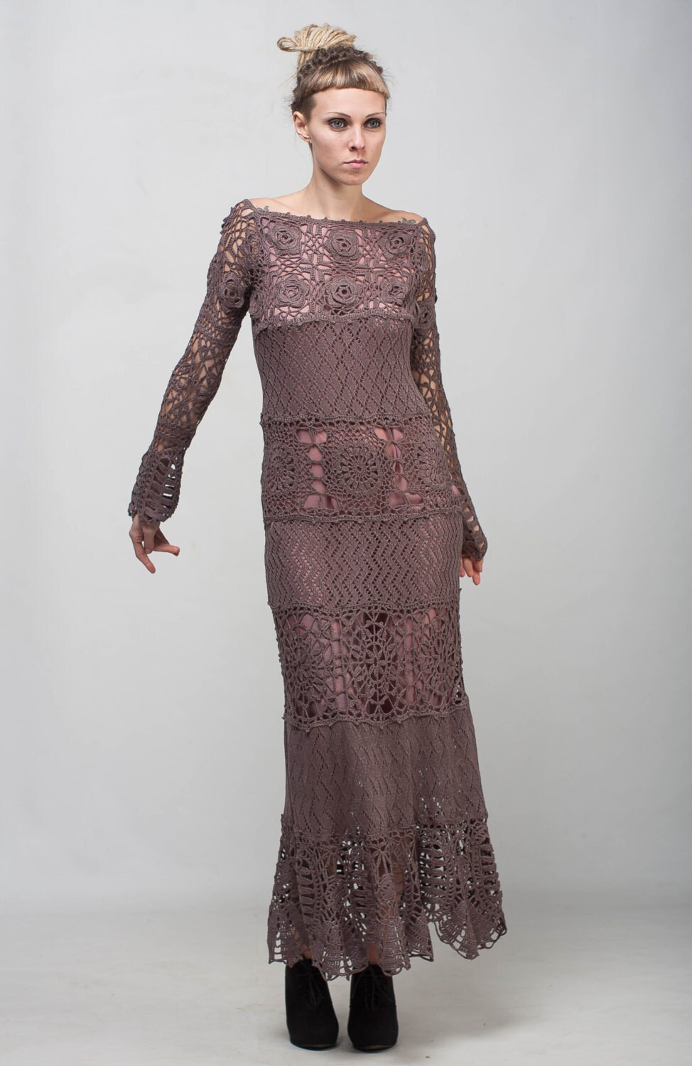 Formal Crochet Dress Mocha Lace Dress Maxi Long Sleeve Dress Etsy