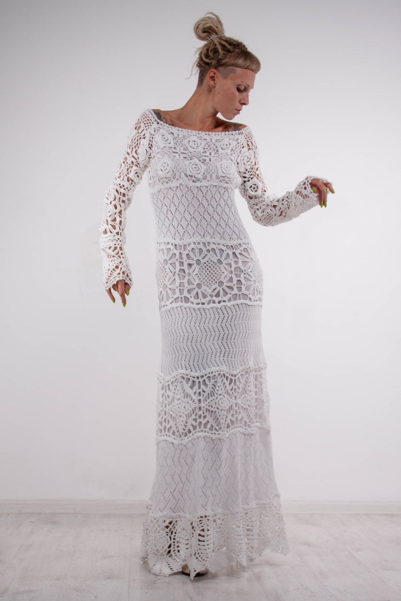 Crochet White Dress Irish Lace Maxi Dress Handmade White Etsy