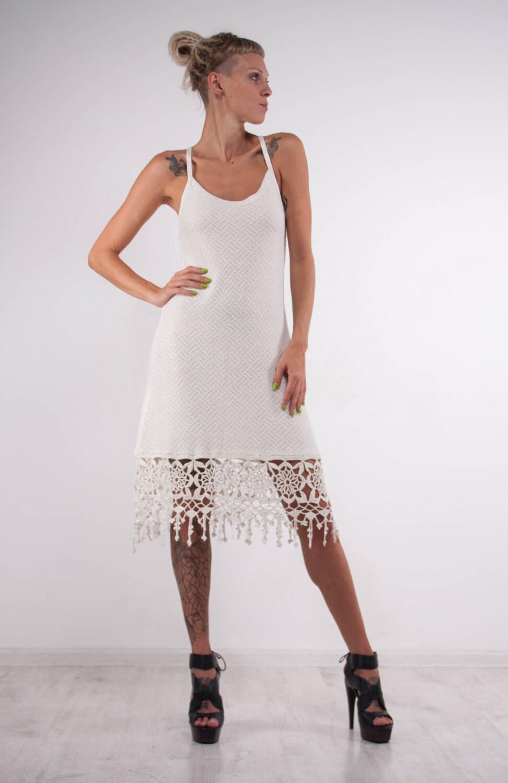 Häkeln Sie weißes Kleid Strick Hochzeit Kleid Spitze Viskose