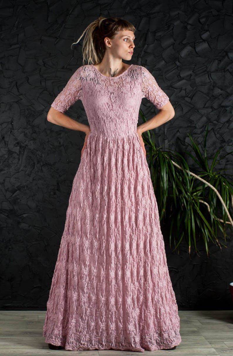 Dusty pink maxi dress guipure pink prom dress sleeves maxi image 1