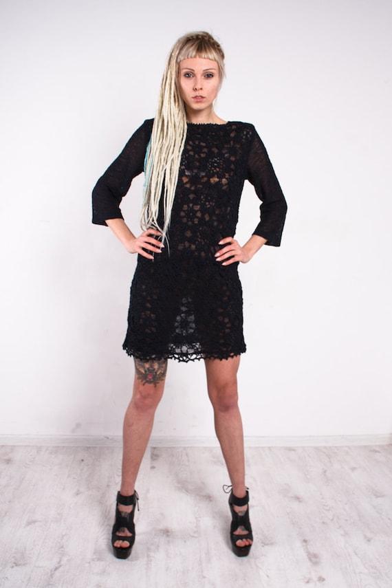Vestido Negro Encaje De Ganchillo Vestido Negro Hecho A Mano De Punto Ropa De Manga Larga Vestido Mini Vestido De Noche Vestido De Moda Calada Vestido