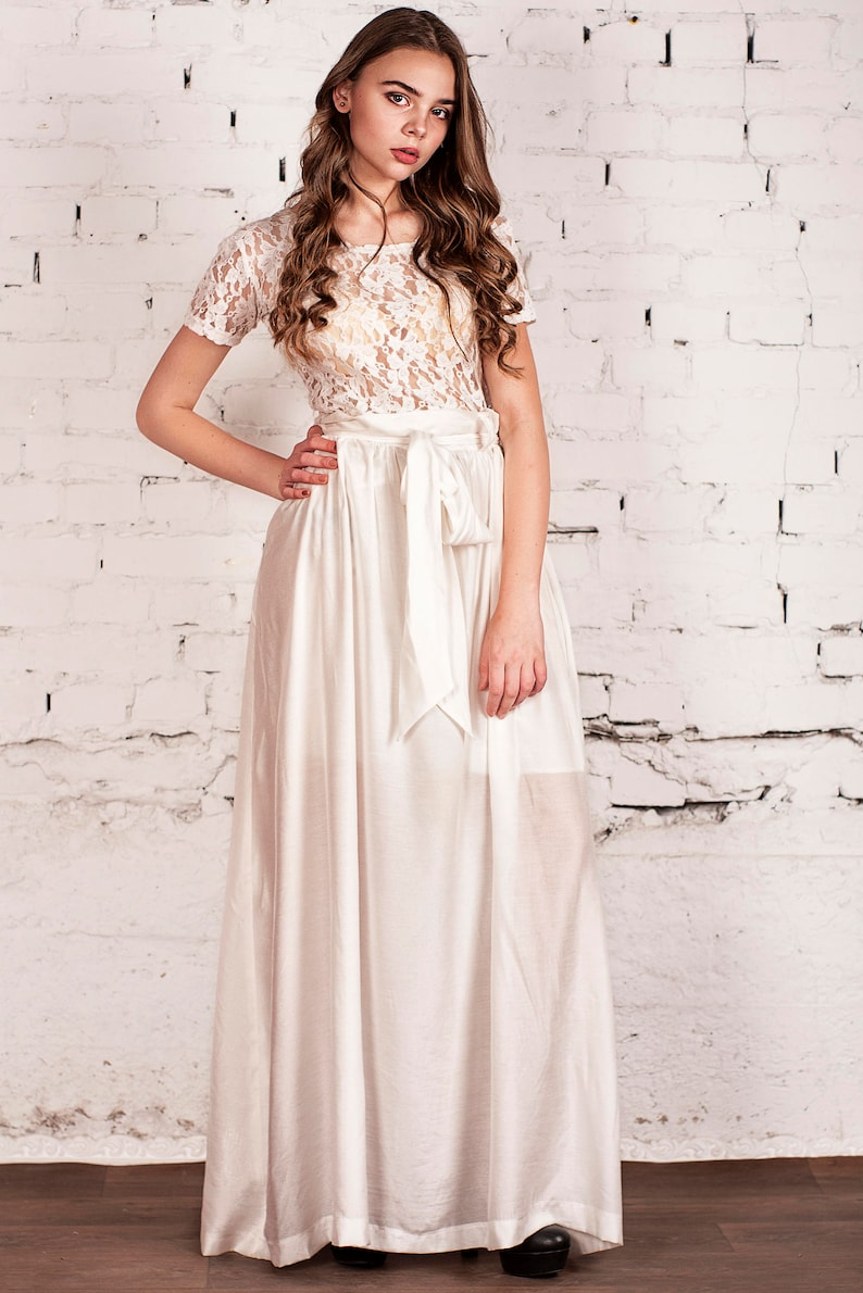 Wedding Lace bridesmaid Ball gown Dress Wedding White Ball gown Long Dress Alternative wedding Long White Dress White Dress Wedding