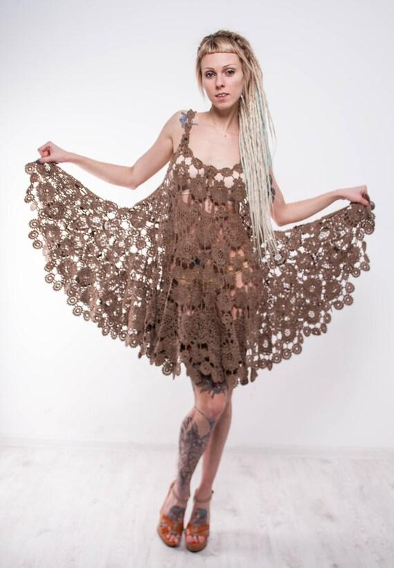 Brown Crochet dress walnut dress Irish lace dress prom crochet sundress beige crochet sundress sleeveless crochet dress lace beige sundress - Summer Crochet