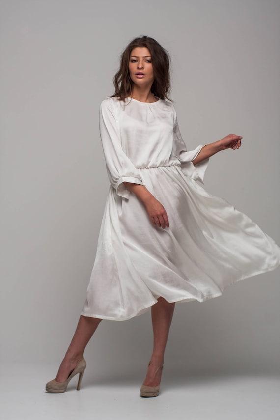 white bridal dress silk loose dress bridesmaid midi dress