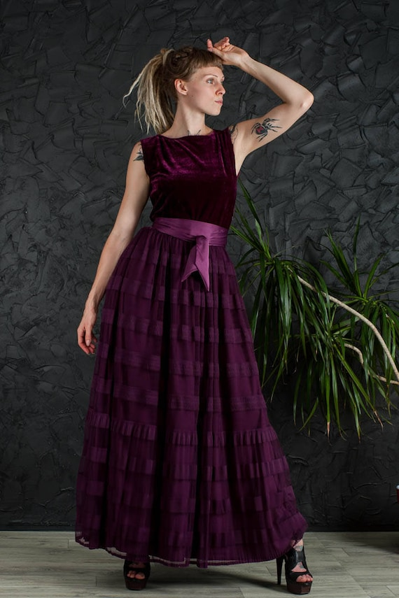 Purple party dress formal maxi dress cocktail dress mother of the bride purple dress velvet prom dress floor dress bridesmaid long dress