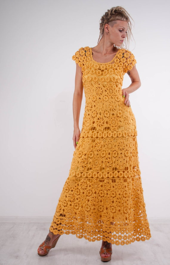 68fbb5da9e Crochet maxi dress handmade formal dress ready to ship party