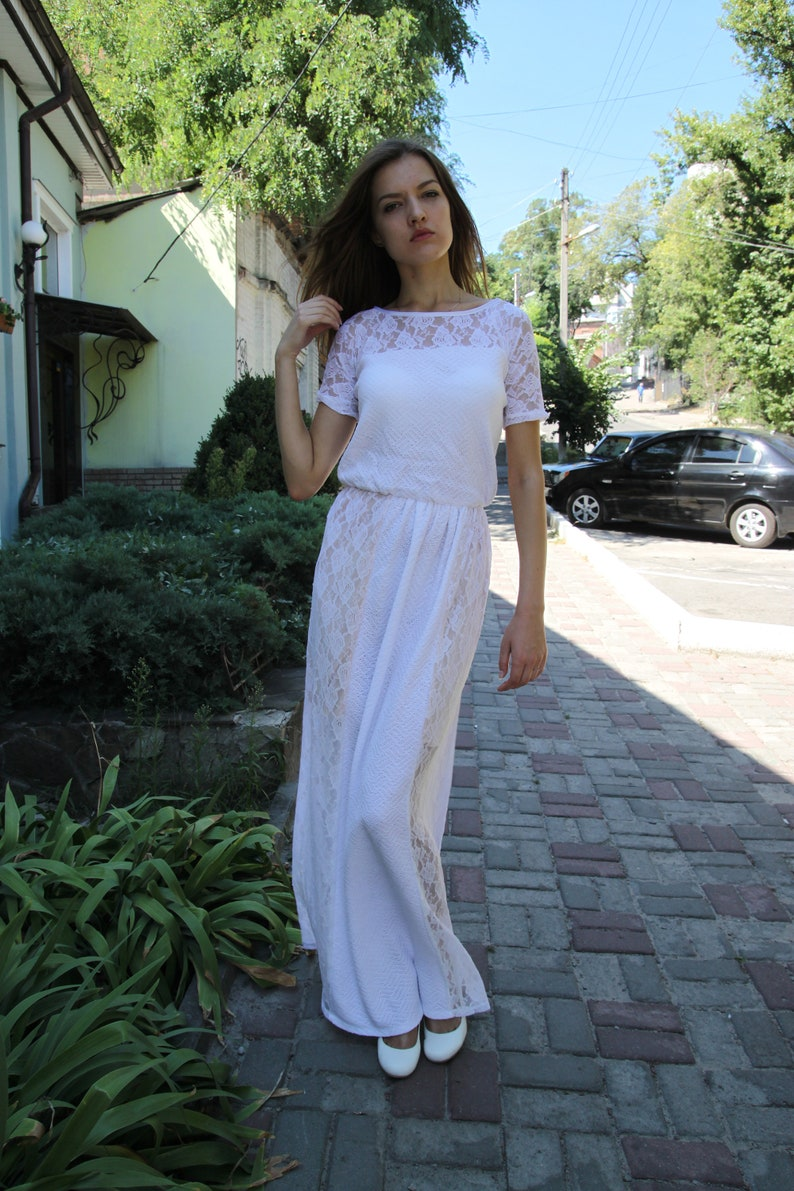832ba70a9ca Crochet white dress KNIT Dress White Viscose Dress lace Dress