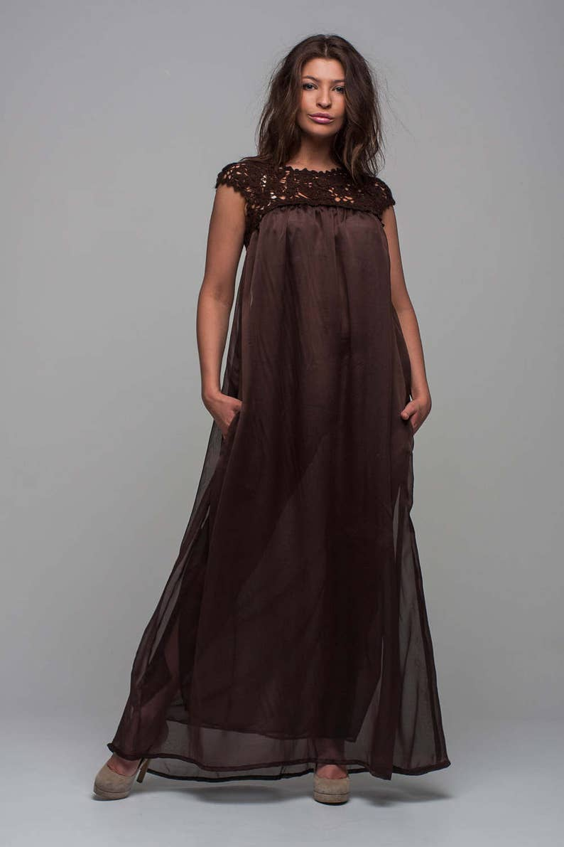 c24f1675337 Brown lace maxi dress maternity dress cocktail floor dress