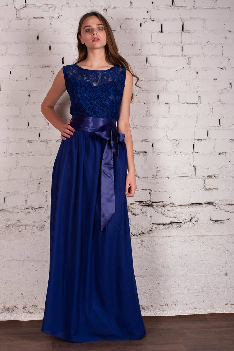 Bridesmaid Bridesmaids dress Blue Bridesmaids dress Maxi image 0