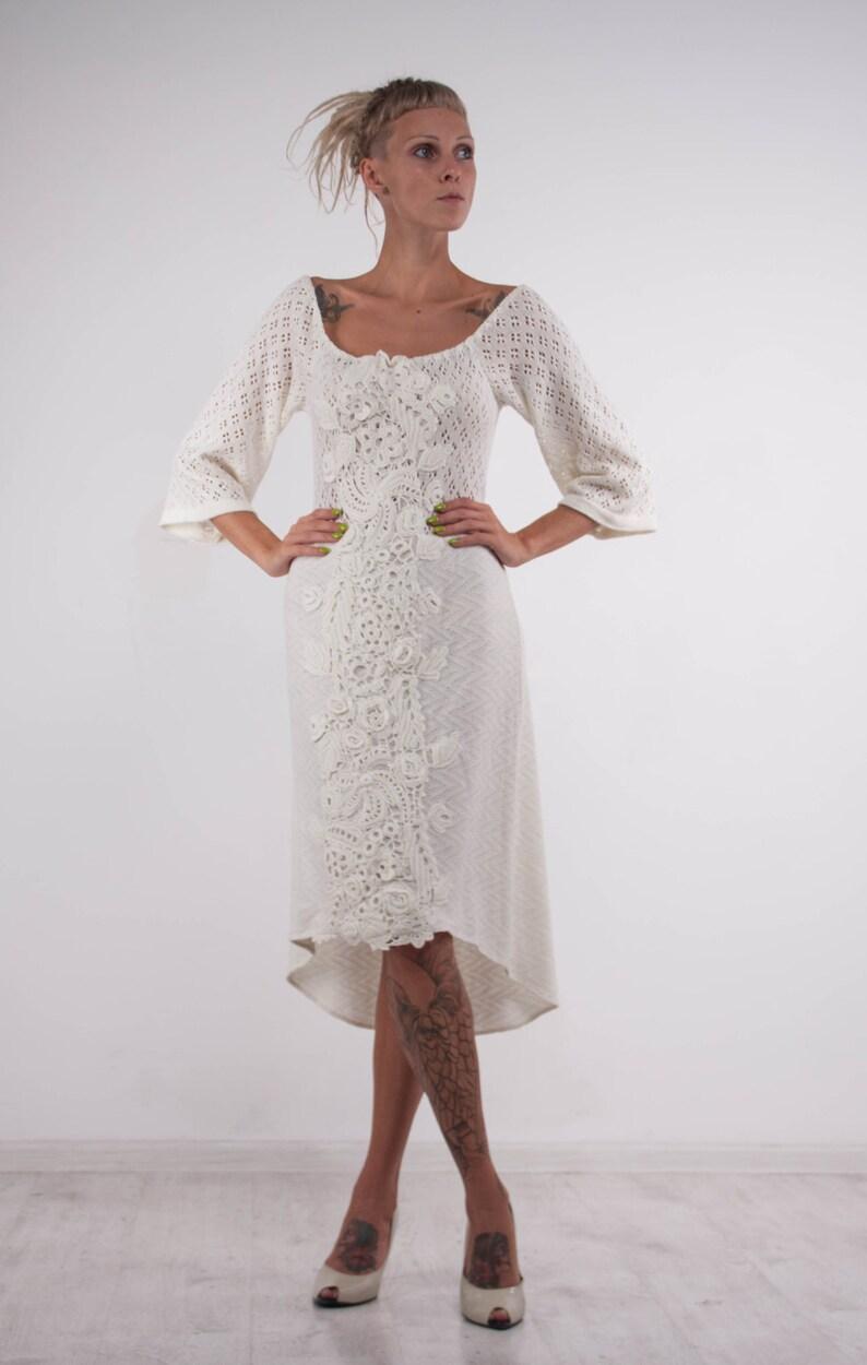 612e2585da2 Crochet white dress KNIT wedding mini Dress lace viscose dress