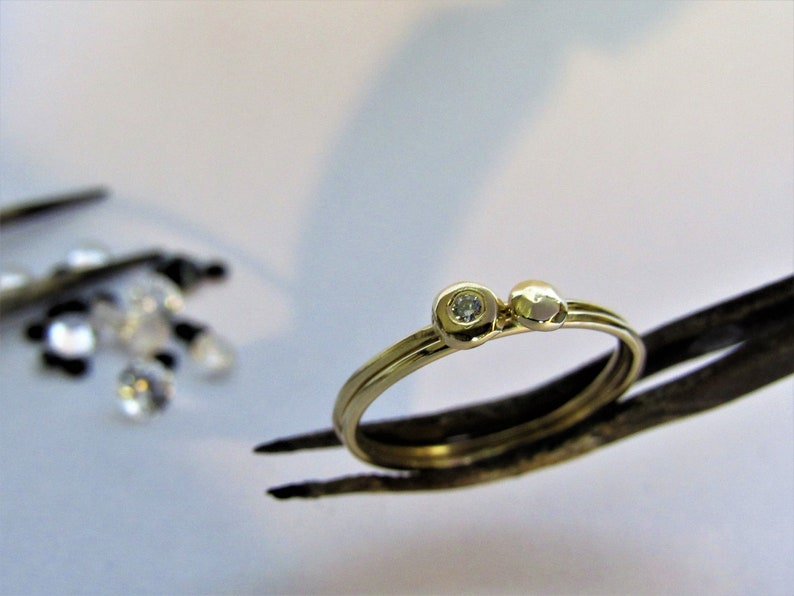 Combination 14k yellow gold rings Free shipping 1 with diamonds 1 without Gold rings VERY UNIQUE handmade