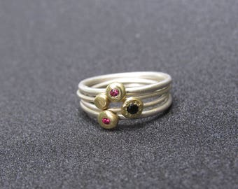 Band gold & sterling silver rings, sets with zircons. Handmade free shipping