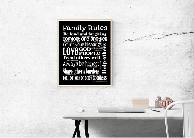 Family Rules printable  art image 0