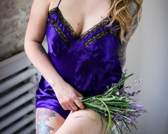 7be0c09484 Gold Label Victoria Secret Purple satin and lace romper-Teddy-90 s 80 s  does 30 s - Sexy little romper -Large- Waist up to 37