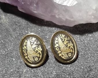 Amazing Earrings with detailed Birds Boho earrings Black and Golden earrings