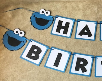 Sesame Street Cookie Monster Happy Birthday Banner. Can be personalized.