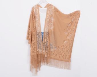 f0d081d25 long bohemian kimono, light brown lace kimono,cardigan,boho kimono,beach  kimono,shrug,cover up,dress kimono