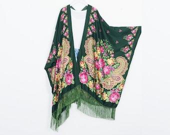 e93c15f66 long bohemian kimono,dark green paisley kimono ,kimono jacket,kimono  cardigan,long beach kimono,shrug,beach boho dress,fringe kimono