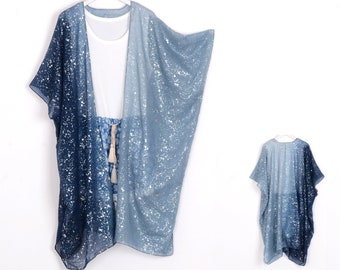 kimonos,denim blue with silver print beach wrap,kimono,beachwear,summer boho kimono,kimono jacket,cover up,beach kimono,cardigan,508#