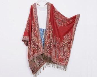 dfe1fdabd3861 pashmina kimono,wine red paisley kimono,paisely,fringe hippie bohemian  kimono,cardigan,boho kimono,shrug,cover up,robe,kimono wrap,cape
