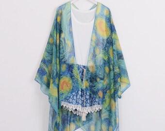 8615137fb5 silk chiffon starry kimono,kimono jacket,beach kimono,boho kimono,cover up,chiffon  kimonos,cover up,dress kimono,kimono cardigan,kimono