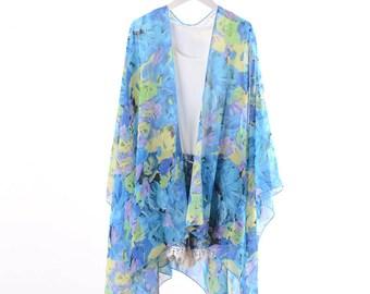 f4103f877e blue floral kimono,kimono jacket,beach kimono,boho kimono,chiffon cover up,chiffon  kimonos,cover up,dress kimono,kimono cardigan,kimono