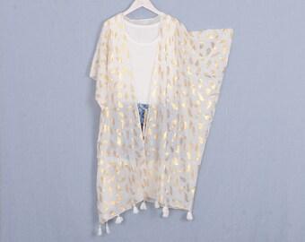 48e244161 kimono cardigan,long kimono, white with gold feather bohemian kimono, cardigan,kimono,boho kimono,beach kimono,cover up,dress kimonos,284#