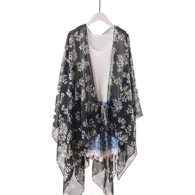 fd32248015edb Black floral kimonokimono jacketbeach kimonoboho