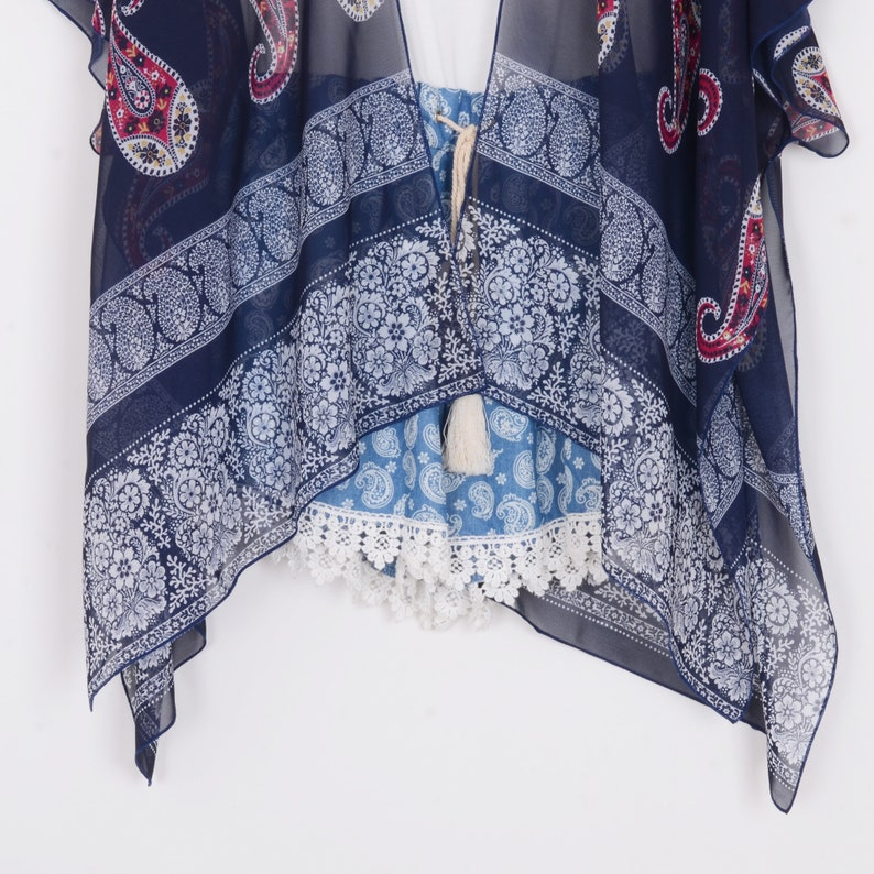 chiffon kimono,navy blue paisley  kimono jacket,boho kimono,chiffon cover up,chiffon kimonos,dress kimono,kimono cardigan,kimono\uff0cCF077