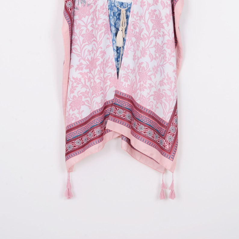 pink gray bohemian kimono,cardigan,boho kimono,beach kimono,shrug,cover up,dress kimono,beach cover up,kimono cardigan tassel long kimono