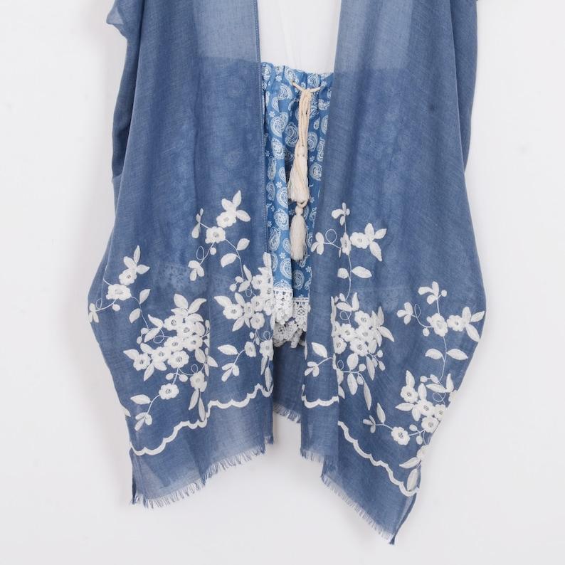 denim blue embroidery kimono,cardigan,tassel kimono,kimono,beach kimono,cover up,dress kimono,bikini cover up,378# long boho kimono