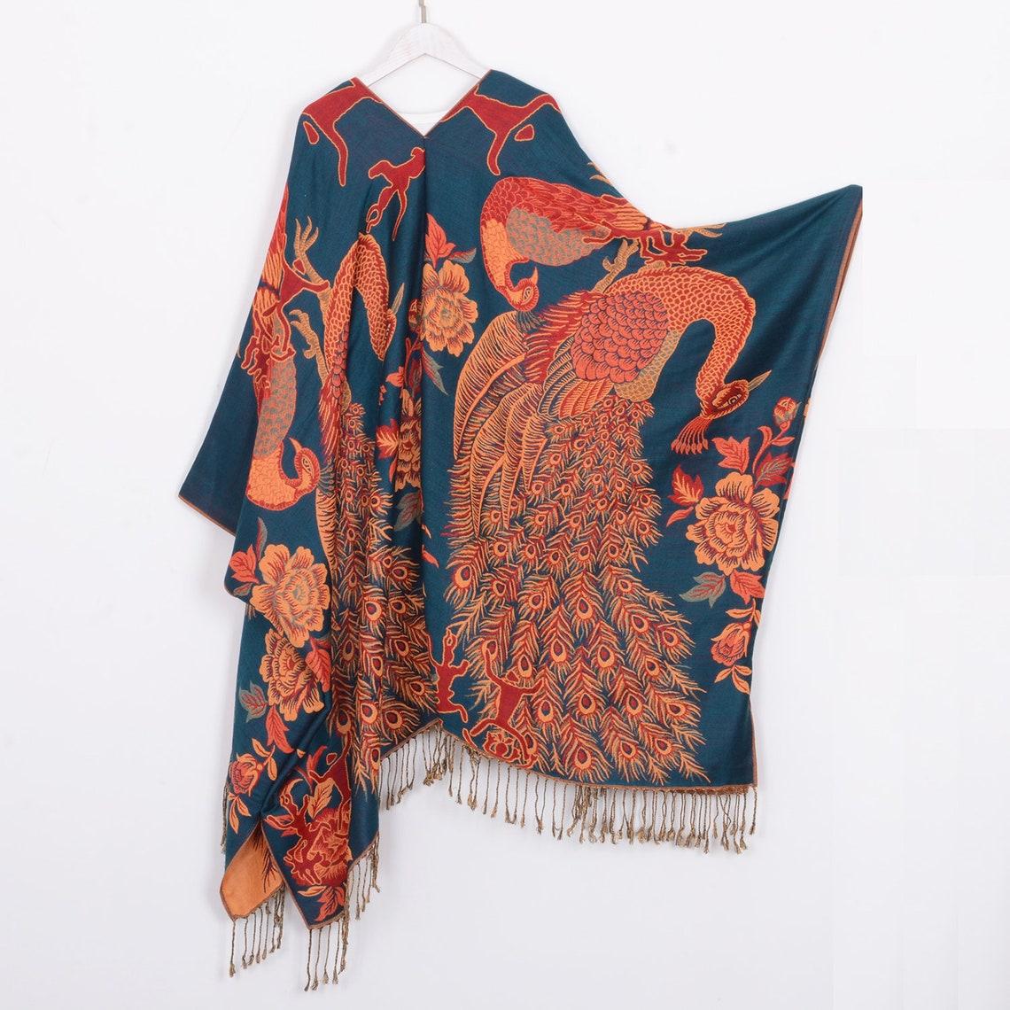 Pashmina kimonodark teal peacock kimonowomen's