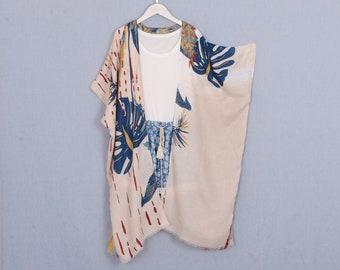 long kimono,hawaii kimono,beige blue palm leaf bohemian kimono,kimono cardigan,boho kimono,kimono jacket,beach kimono,dress kimono,049#