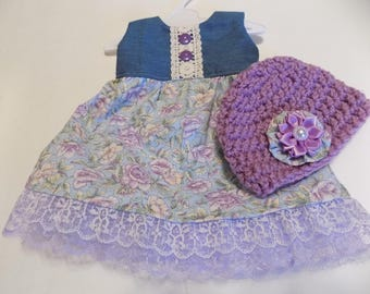 d70458ffad0b American Girl doll sized Dress in Purple floral colors, Denim bodice and  Crocheted hat. #643