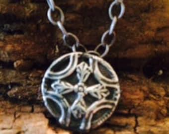 Handmade fine silver vintage cross