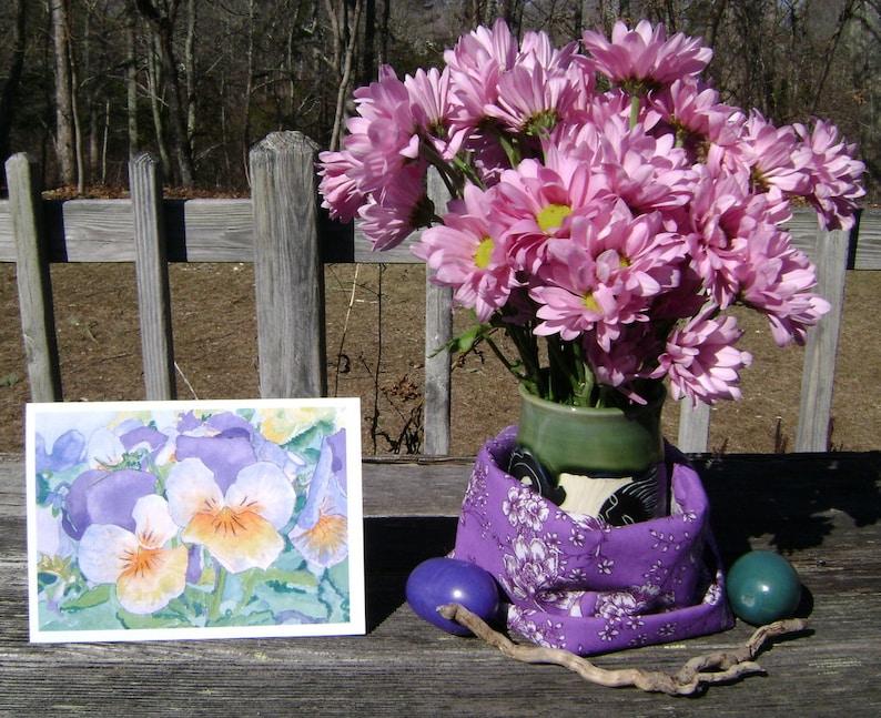 blank inside 12.7 cm x 17.8 cm greeting card nature Set of 3 Pansies made in USA flowers purple orange 5\u201d x 7\u201d green envelope