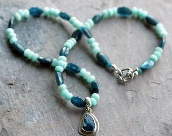"Apatite and Amazonite Pendant Necklace - 17.5"" (Burnie's Rock Shop apatite pendant)"