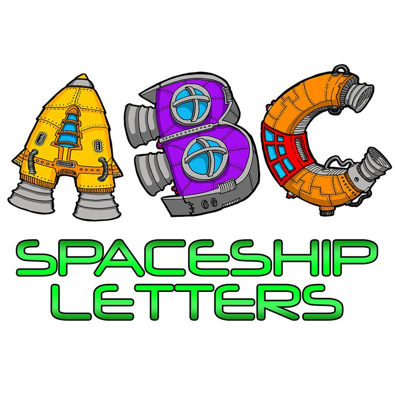 ABC 123 Spaceship Letters alphabet coloring book by Sean | Etsy