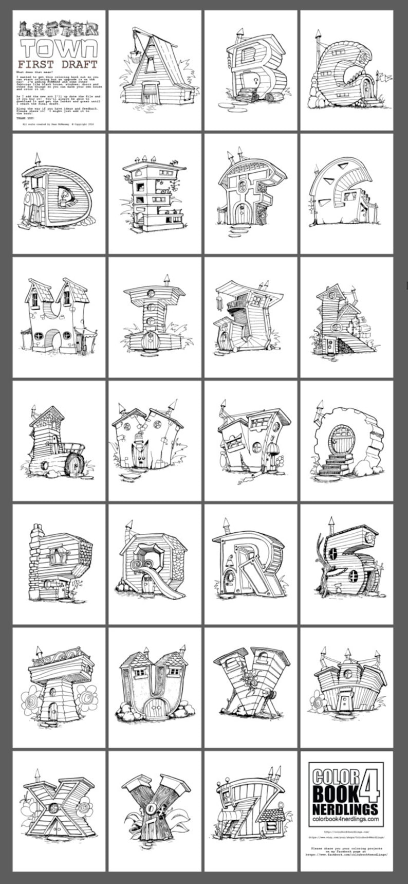 Abc 123 Fairy House Letters Alphabet Coloring Book Etsy